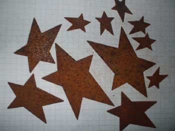 Rusty TIn Stars 3 sizes